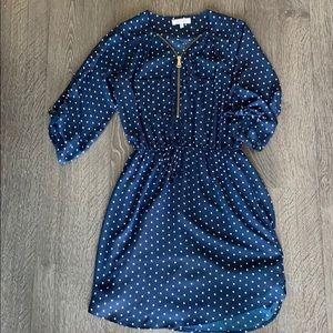 Stella Tweed Navy Polka Dot Dress. Size Small